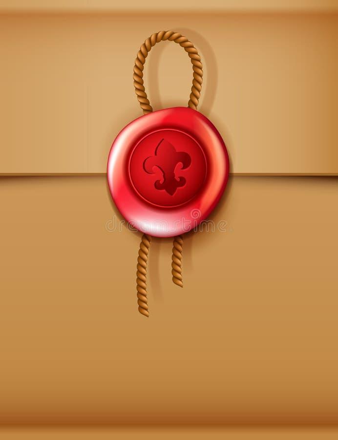 有绳索的红色蜡封印 库存例证