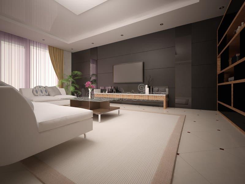 有轻的舒适的沙发的现代宽敞客厅 库存例证