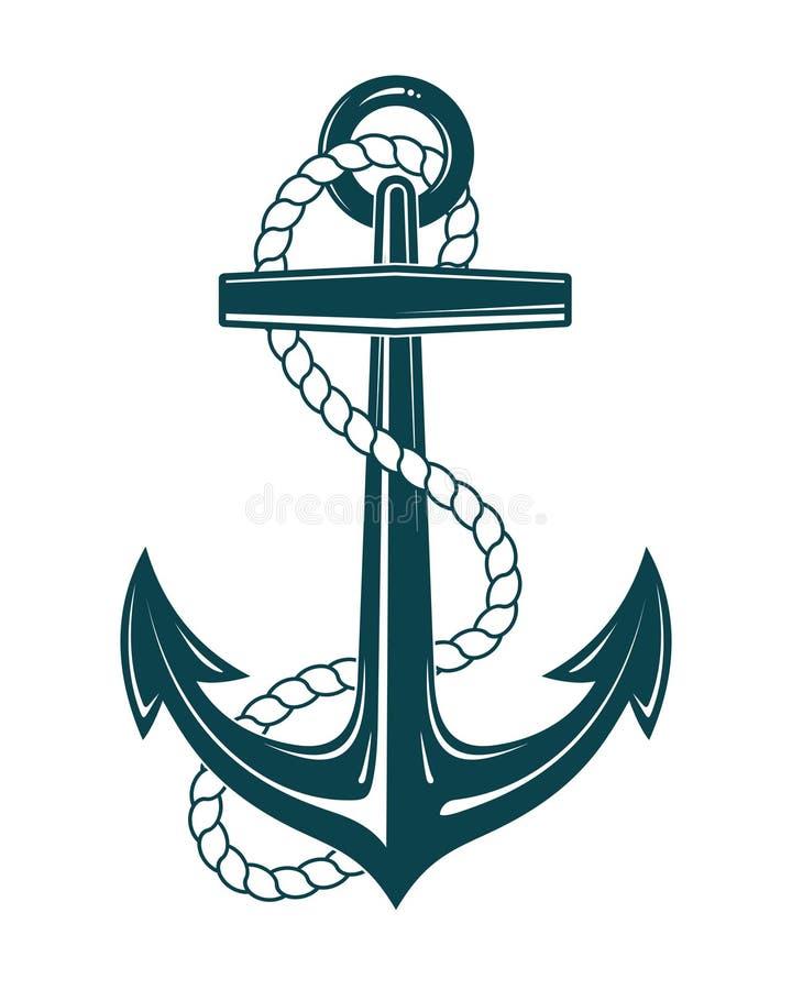 有绳索的船舶船锚 库存例证
