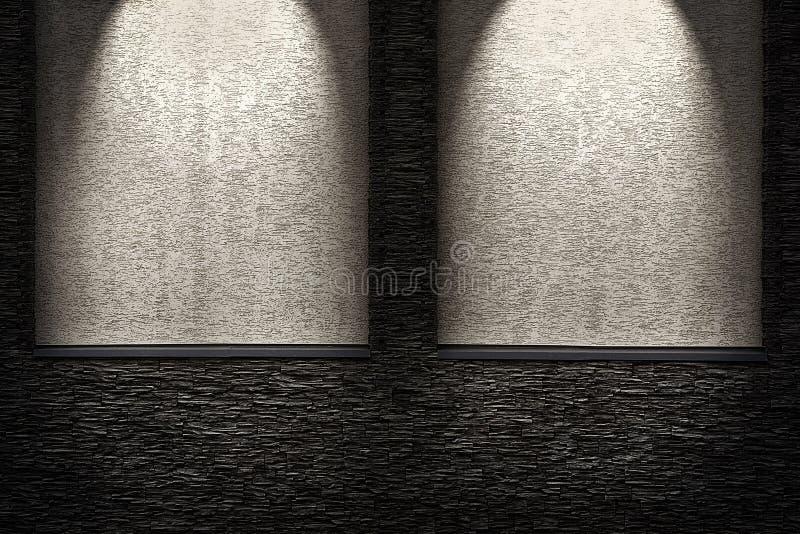 有更轻的适当位置的装饰黑暗的石墙 光线影响 皇族释放例证