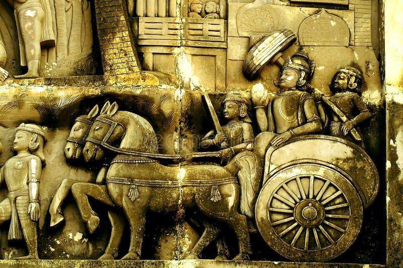 有他的队伍的Ashoka国王 免版税图库摄影