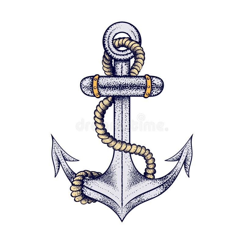 有绳索的手拉的典雅的船海锚,纹身花刺的色的剪影设计或t恤杉印刷品