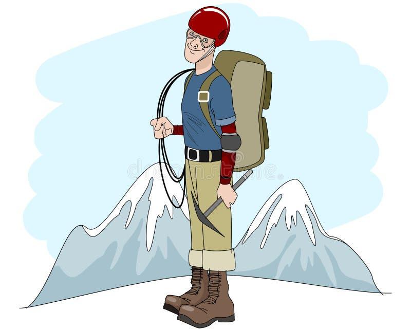 有绳索的年轻登山人 向量例证