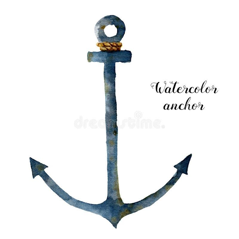 有绳索的水彩船锚 在白色背景隔绝的手画船舶例证 对设计,印刷品或 皇族释放例证