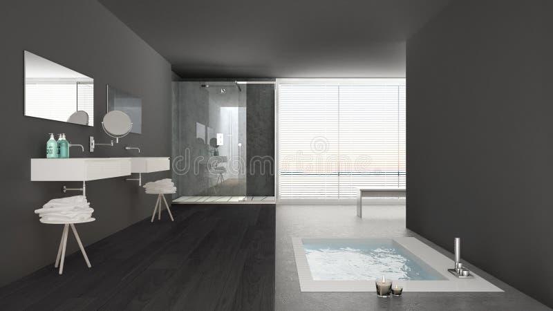 有浴盆的最低纲领派白色和灰色卫生间和全景 免版税库存图片