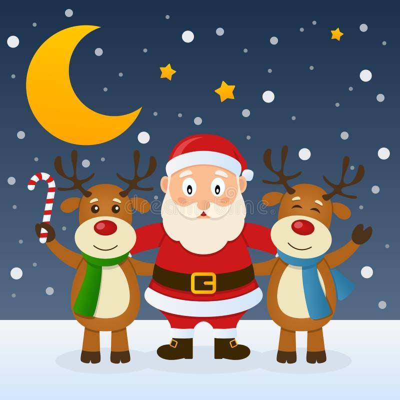 有滑稽的驯鹿的圣诞老人 库存例证