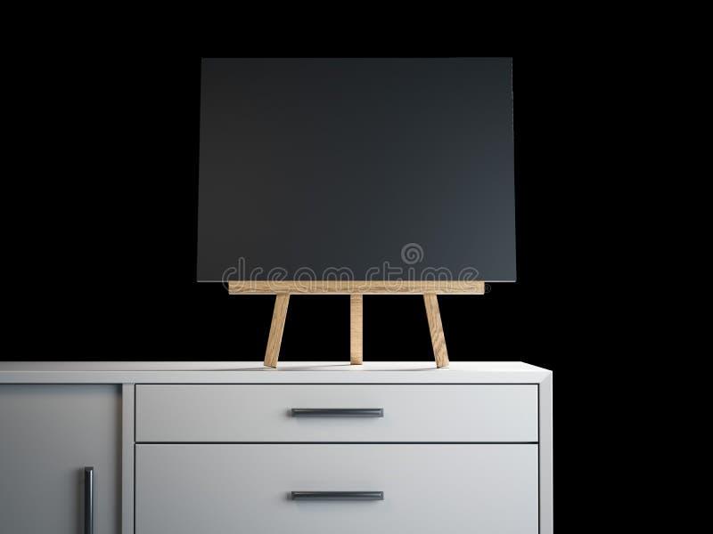 有黑空白的框架的木画架 3d翻译 皇族释放例证