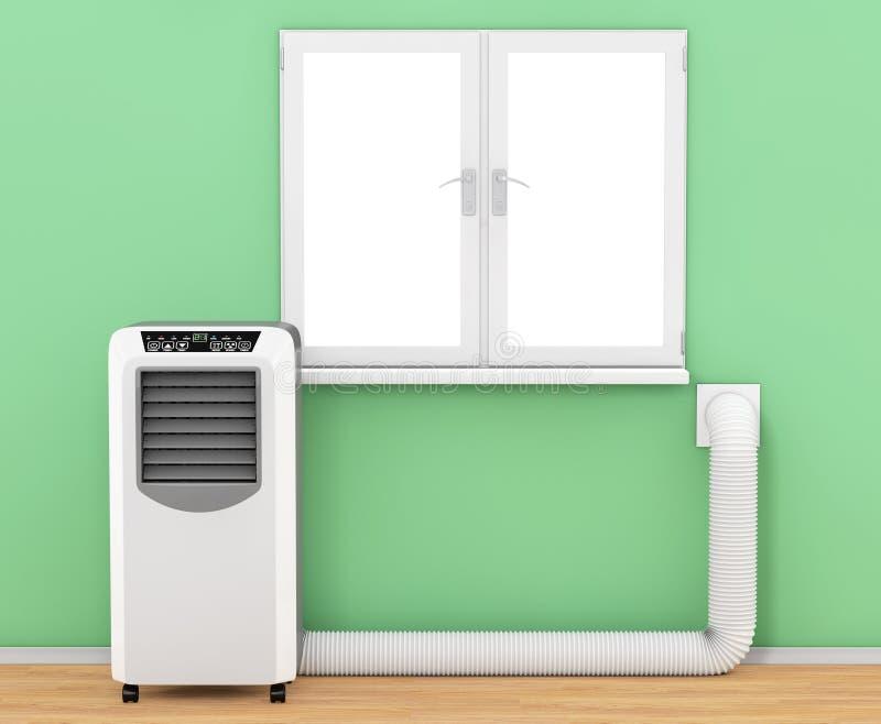 有水管的便携式的流动室空调器连接了到风 向量例证