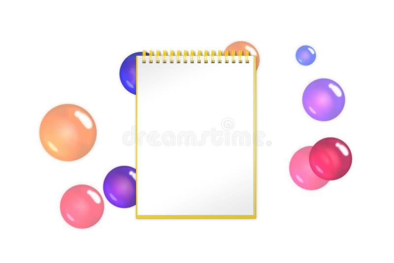 有绯红色泡影、球形和球的空白的笔记本在背景 向量例证