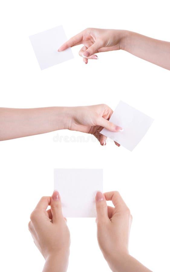 有贴纸的手。 库存图片