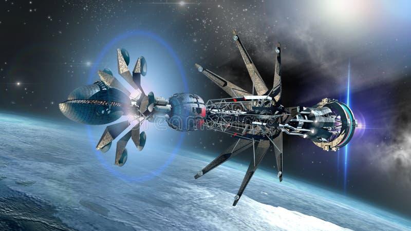 有经线的Drivein太空飞船创始的状态 皇族释放例证
