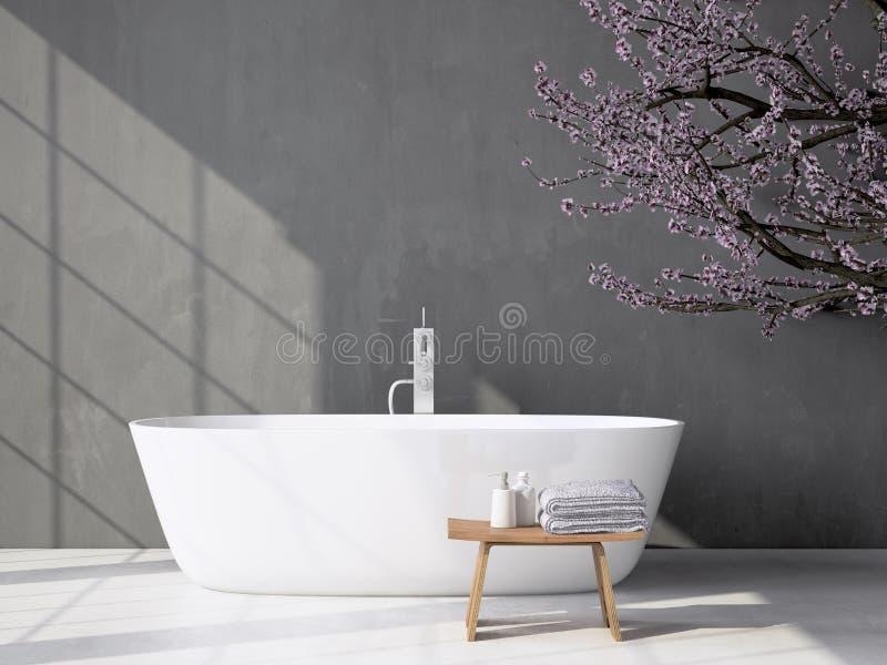 有浴缸的现代灰色卫生间 3d翻译 免版税图库摄影