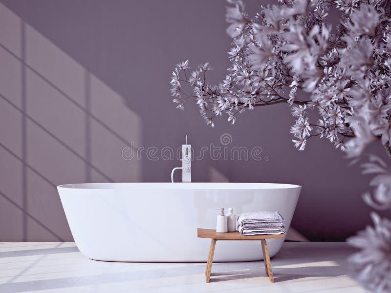 有浴缸的现代灰色卫生间 3d翻译 皇族释放例证