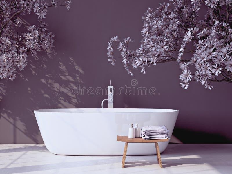 有浴缸的现代灰色卫生间 3d翻译 向量例证