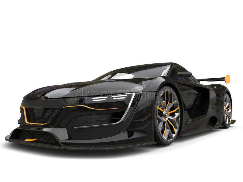 有黄色口音的令人敬畏的黑超级汽车 皇族释放例证