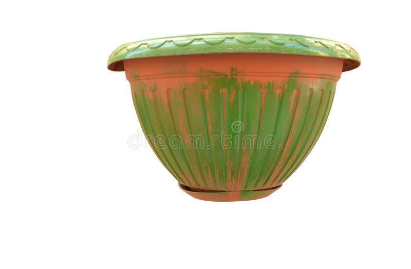 有绿色古色的赤土陶器罐 免版税库存照片