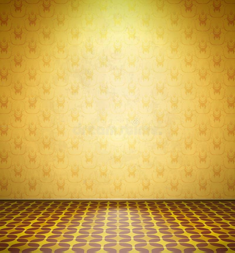 有黄色墙纸的老被放弃的室 库存例证