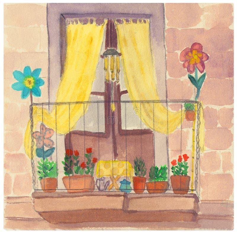有黄色帷幕、花和扶手栏杆的葡萄酒欧洲阳台庭院 向量例证