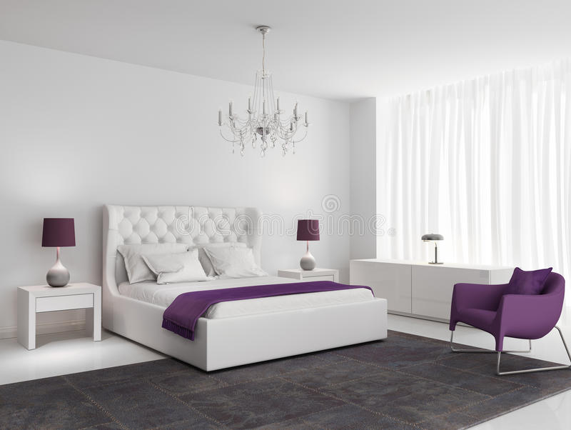 有紫色扶手椅子的白色豪华卧室 免版税库存照片