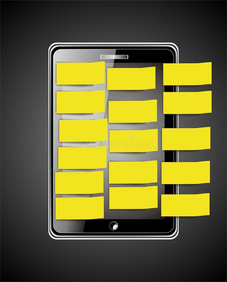 有黄色标签的巧妙的电话 库存例证