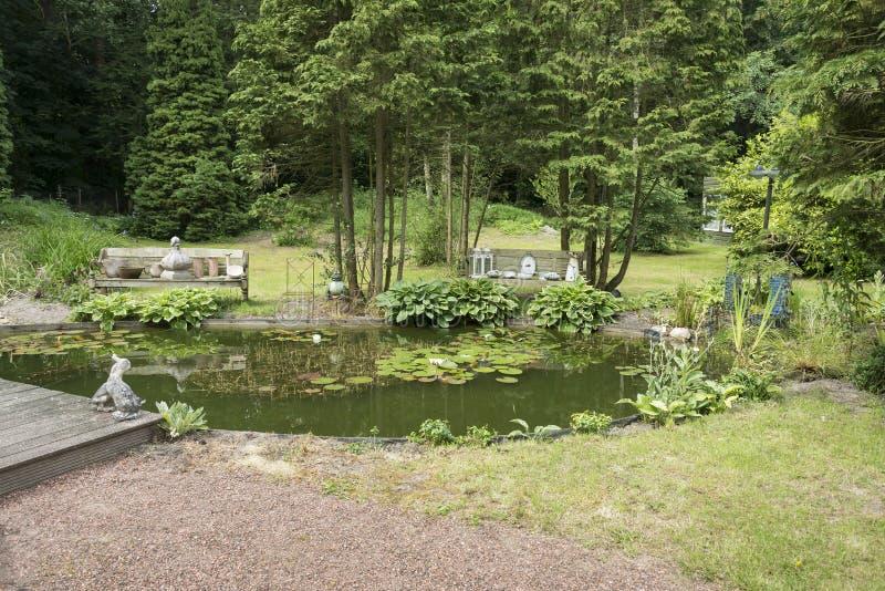 有绿色树计划和池塘的英国庭院 免版税库存照片