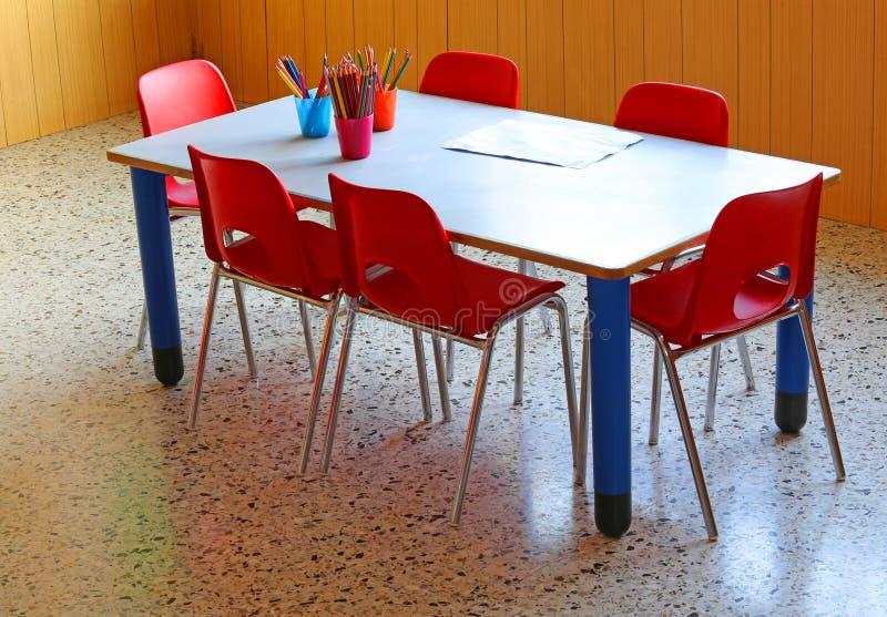 有黄色椅子的小学校书桌在幼儿园 免版税库存照片