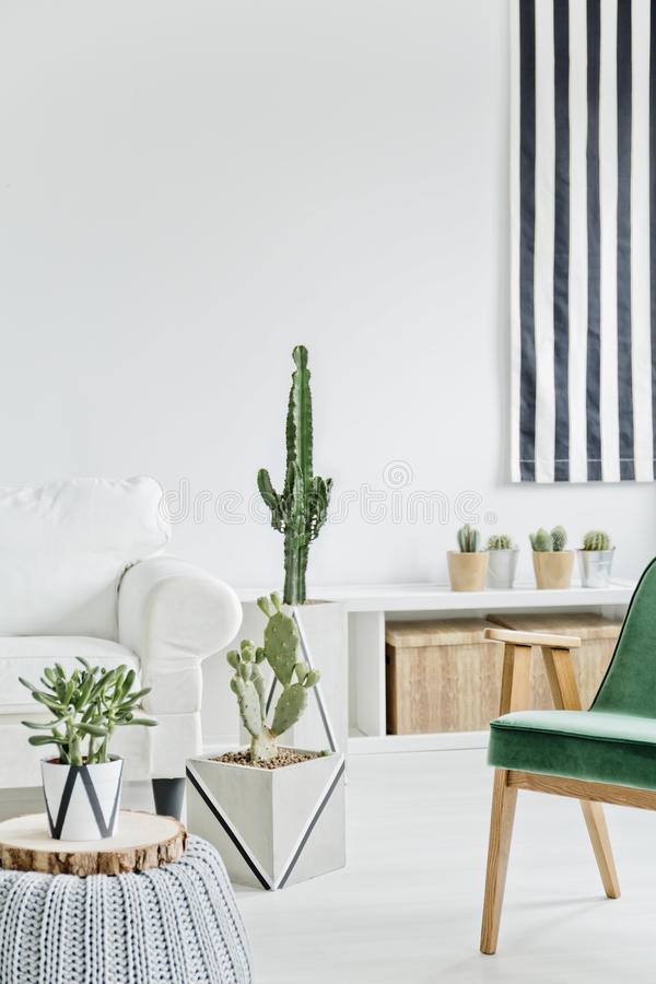 有绿色椅子的绝尘室 免版税图库摄影
