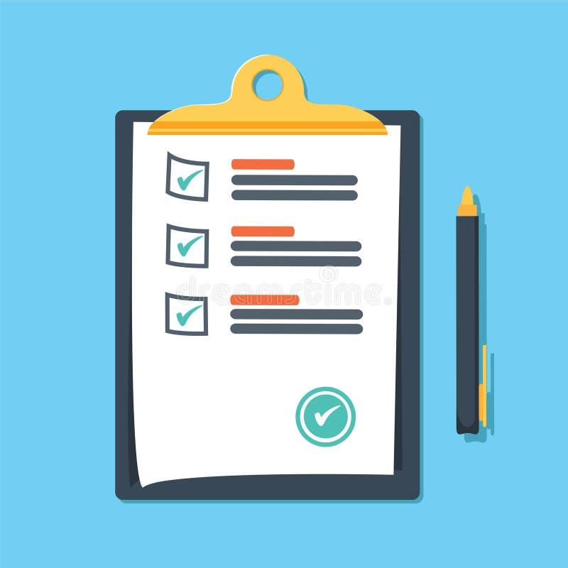 有绿色的剪贴板滴答作响检查号和笔 清单,完全任务,计划目录,勘测,检查概念 库存例证
