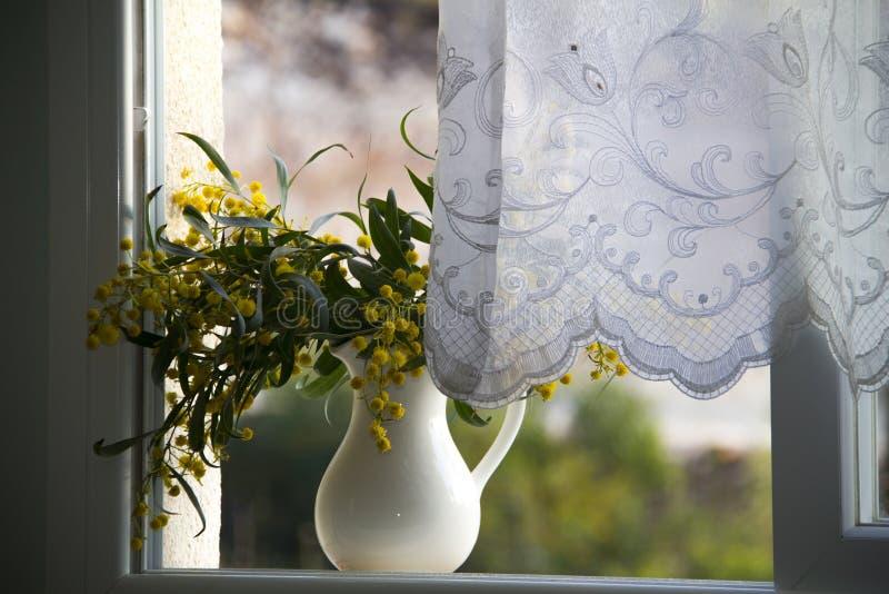 有黄色花的投手在窗口 免版税库存图片