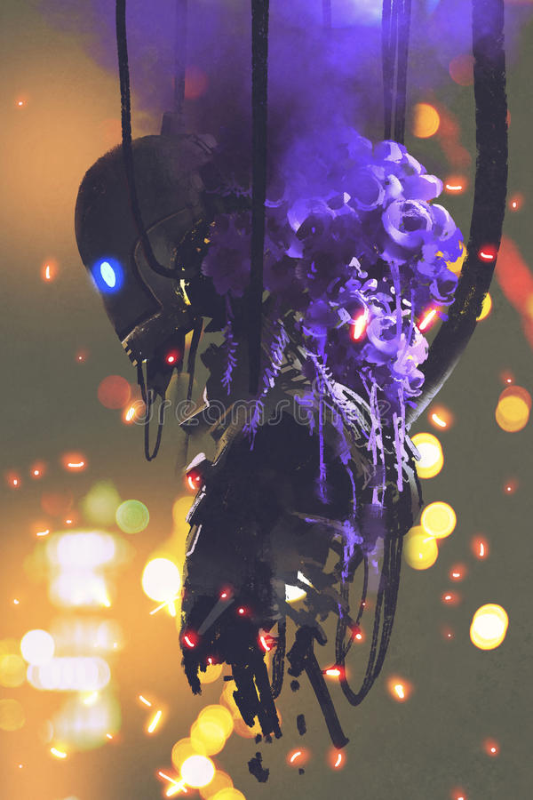 有紫色花花束的残破的机器人  皇族释放例证