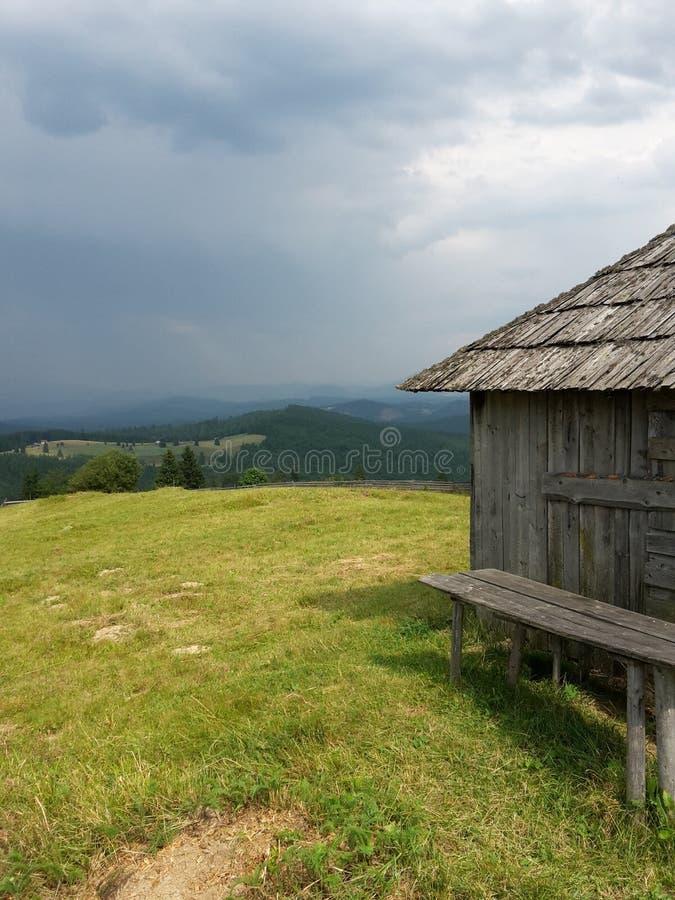 有绿草的老房子 免版税库存照片