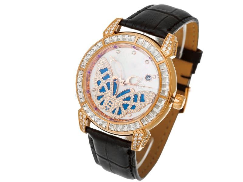 有蝴蝶的女性手表拨号盘从金刚石 库存图片