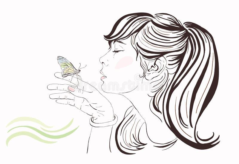 有蝴蝶的美丽的女孩 皇族释放例证