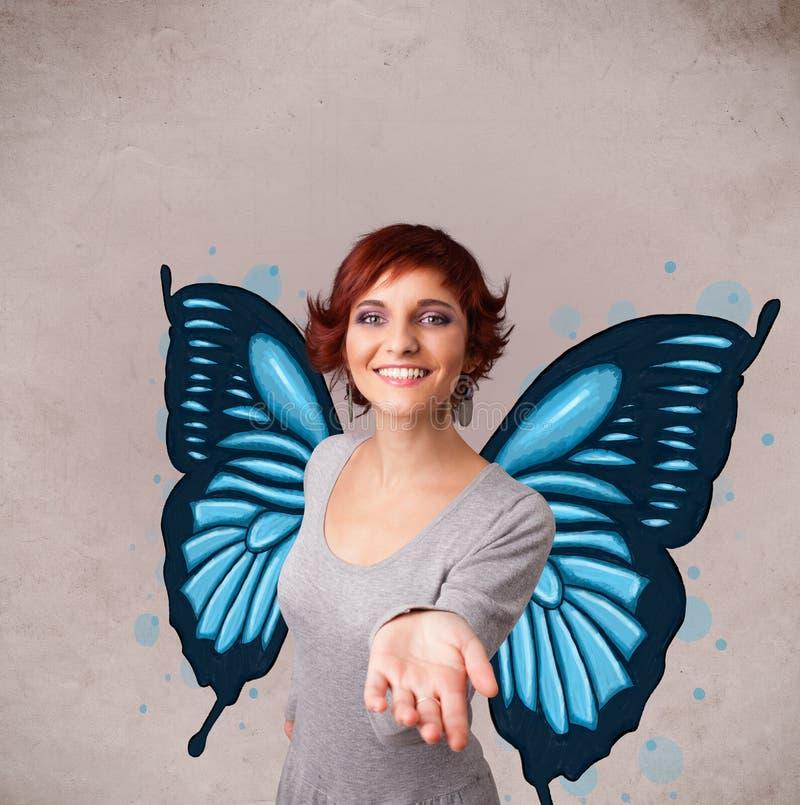 有蝴蝶蓝色例证的女孩在后面 库存图片