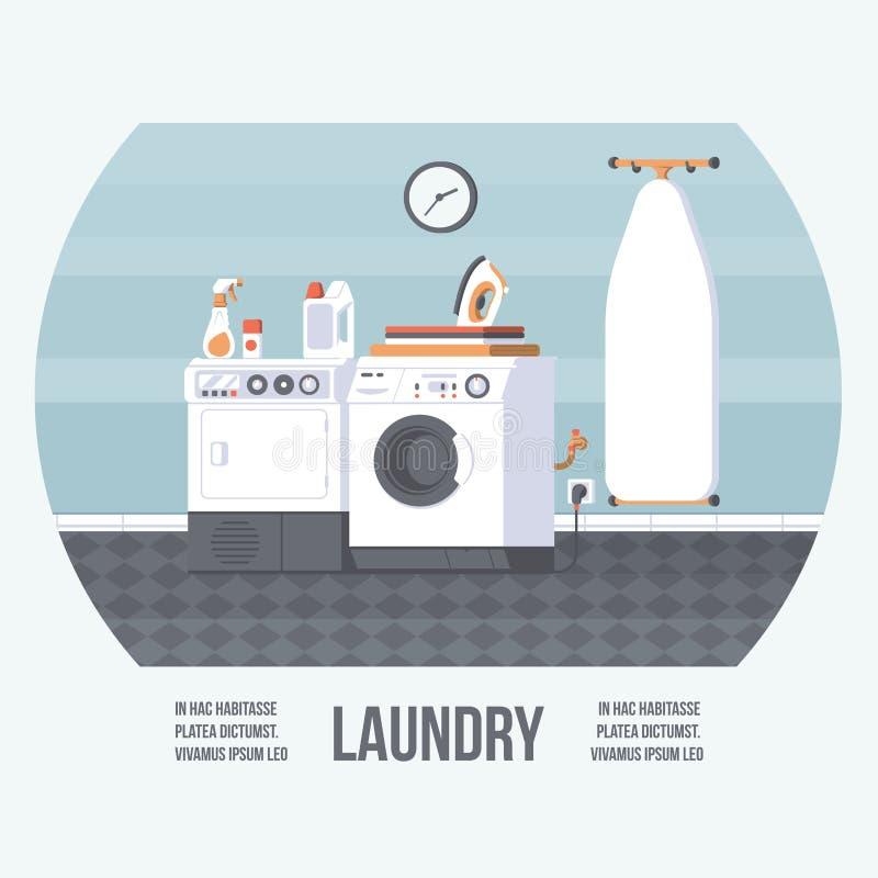 有洗衣机、铁板和烘干机的洗衣房盖子 与平的元素的葡萄酒减速火箭的样式 现代时髦设计 库存例证