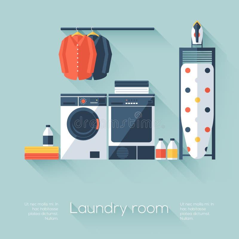 有洗衣机和烘干机的洗衣房 与长的阴影的平的样式 现代时髦设计 库存例证