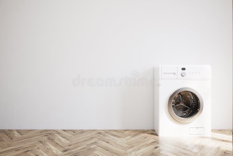 有洗衣机的灰色室,木地板 皇族释放例证