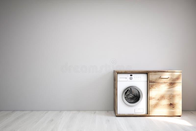 有洗衣机的灰色室,白色地板 皇族释放例证