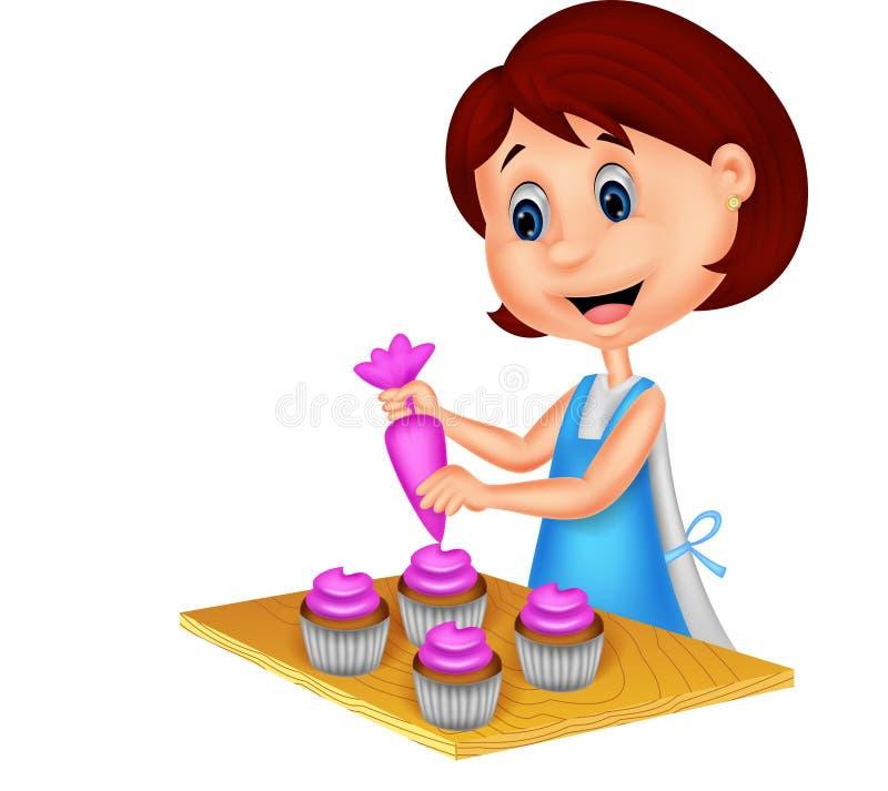 有围裙的动画片妇女装饰杯形蛋糕的 皇族释放例证