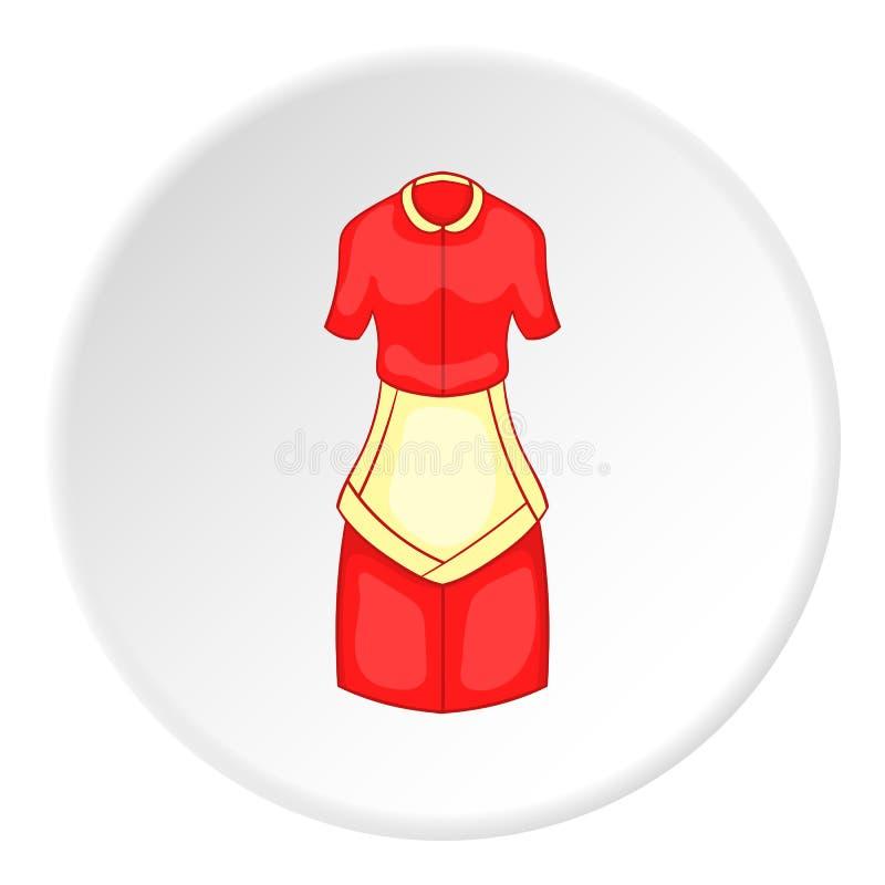 有围裙象的,动画片样式红色主妇礼服 向量例证