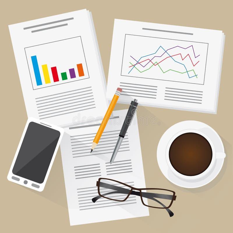 有统计、信息图表、手机和咖啡的平的设计工作地点 库存例证