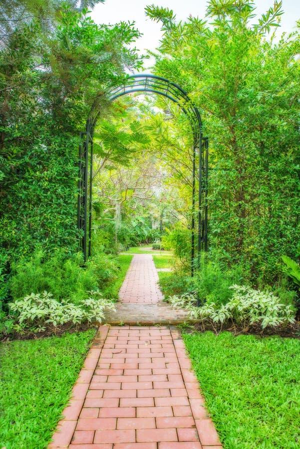 有锻铁树荫处的豪华的绿色庭院 免版税库存图片
