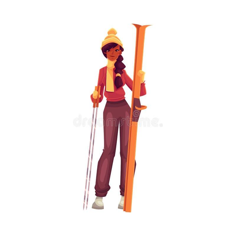 有滑雪和杆的年轻黑人妇女 皇族释放例证
