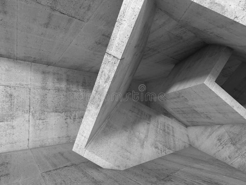 有3d立方结构的灰色具体室 向量例证