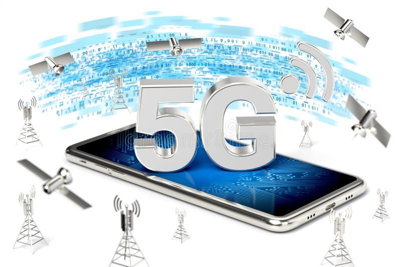 有5G标志的智能手机在网络高速网络数据传送结围拢的屏幕上 模糊的特写镜头射击 查出 库存例证