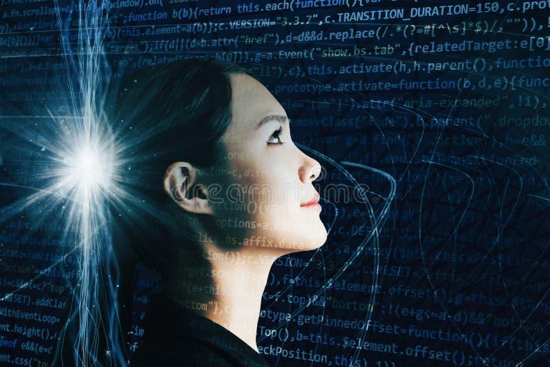 有AI和技术概念的女实业家 免版税库存图片