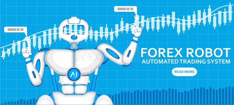 有AI机器人的外汇贸易的机器人 皇族释放例证