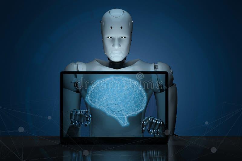 有ai脑子的机器人在笔记本 皇族释放例证