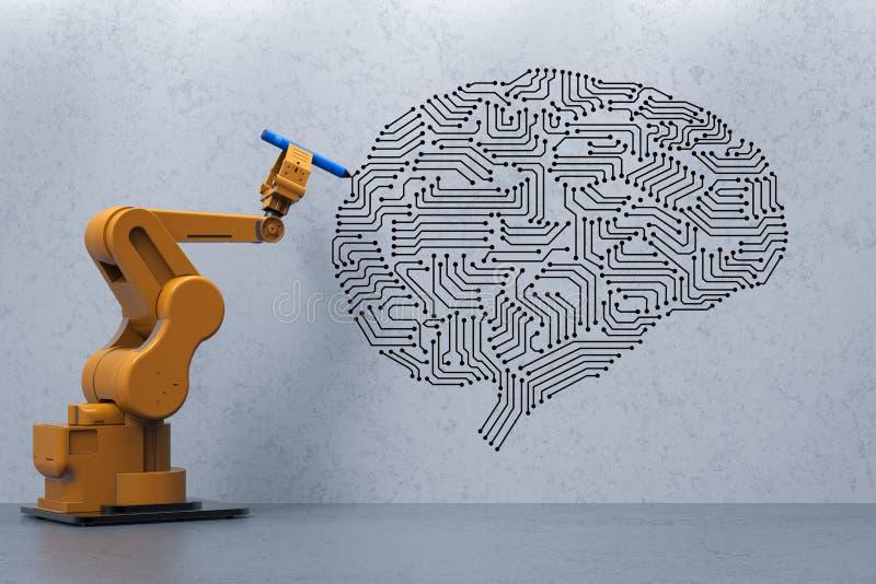有ai脑子的机器人 免版税库存照片