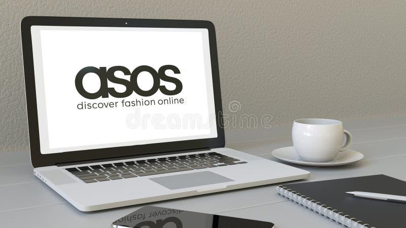 有ASOS商标的膝上型计算机在屏幕上 现代工作场所概念性社论3D翻译 库存例证